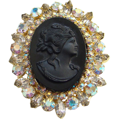 Vintage Black Cameo Pendant Brooch Aurora Borealis Rhinestones Costume Jewelry