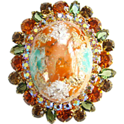 Juliana Large Coral Splattered Stippled Easter Egg Rhinestone Brooch DeLizza Elster D&E