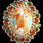 Juliana Large Coral Splattered Stippled Easter Egg Rhinestone Brooch DeLizza Elster D&E
