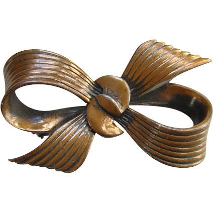 Vintage Rare Rebajes Modernist Copper Bow Pin Brooch Signed C1930-50 Mid Century