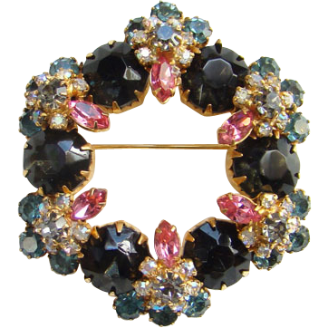 Fabulous Large Rhinestone Wreath Brooch Black Pink Teal Clear High Quality Unsigned Costume Jewelry