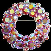 Vintage Tiered Pink Aurora Borealis Rhinestone Wreath Brooch Silvertone Setting Costume Jewelry