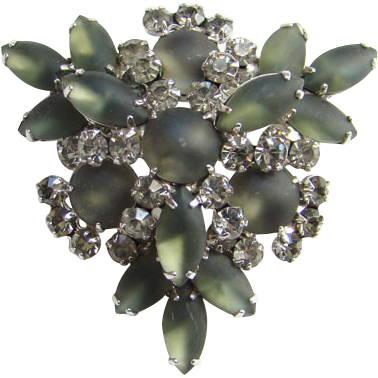 Juliana Rhinestone Brooch Gun Metal Frosted Glass Tiered DeLizza Elster D&E