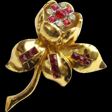 1939 Coro Quivering Camellia Rhinestone Floral Trembler Fur Dress Clip by Adolph Katz Pat No 117802 Art Deco