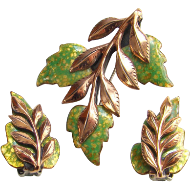 Vintage Matisse Renoir Laurel Leaf Green Gold Enamel Copper Brooch Earrings Set Signed
