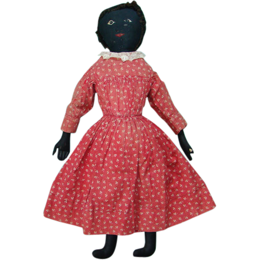 19thC Black Cloth Rag Doll in Original Red Calico Dress Embroidered Features 23 Inches NYS Origin