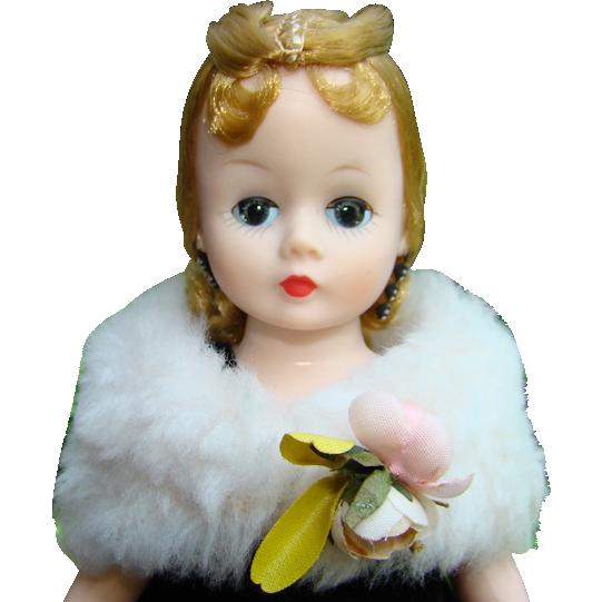 Madame Alexander Cissette Doll 1957 Black Velvet Gown Fur Stole 973 Stunning