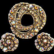Vintage Florenza Pink Aurora Borealis Brooch Clip Earrings Set Signed