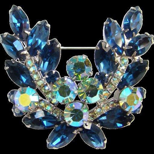 Juliana Blue Aurora Borealis Rhinestone Brooch Pin Book Piece DeLizza & Elster