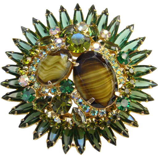 Juliana Olivine Green Rhinestone Art Glass Starburst Brooch C1964 DeLizza Elster D & E
