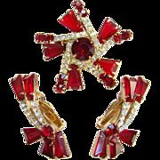 Juliana Red Keystone Rhinestone Brooch Earrings Tapered Baguettes DeLizza & Elster