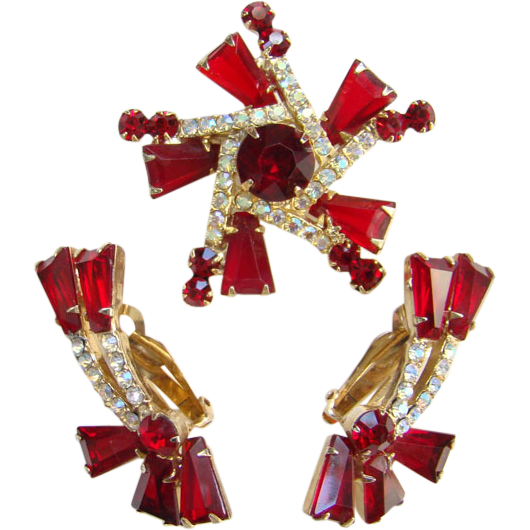 Juliana Red Keystone Rhinestone Brooch Earrings Tapered Baguettes DeLizza & Elster