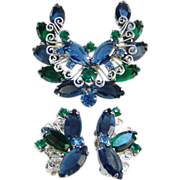 Juliana DeLizza & Elster Blue Green Rhinestone Brooch Earrings Heart Scrolls