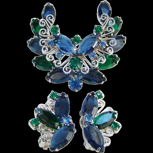 Juliana DeLizza & Elster Blue Green Rhinestone Brooch Earrings Heart Scrolls