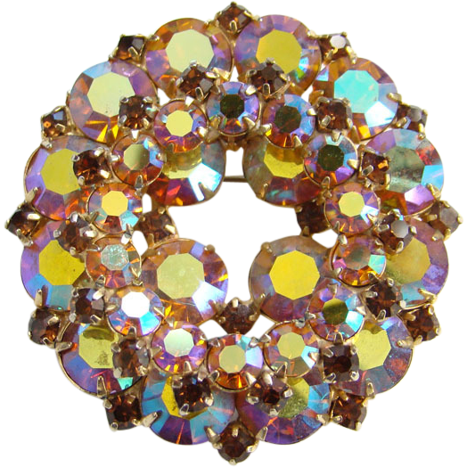 Vintage Aurora Borealis Rhinestone Circular Brooch Blue Yellow Pink Topaz Evening Wear