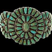 Vintage Navajo Larry Moses Begay LMB Turquoise Cluster Bracelet Sterling Silver Signed