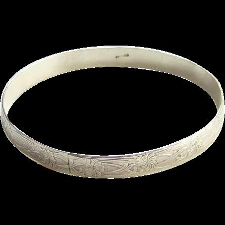 Vintage Art Nouveau Style Sterling Silver Bangle Bracelet Repousse Marked