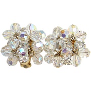 Juliana Clear Crystal Bead Rhinestone Clip Earrings DeLizza & Elster