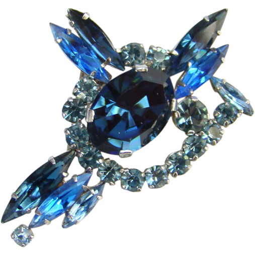 Vintage Sapphire Blue Rhinestone Pin Brooch Made in Austria Signed
