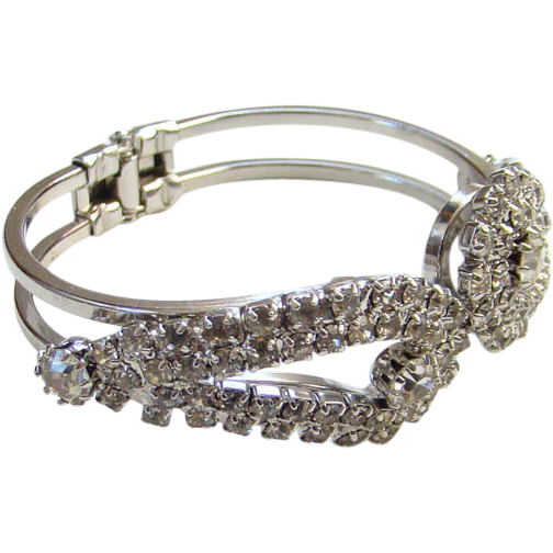 Vintage Clear Rhinestone Clamper Bracelet Silver Tone Gorgeous High Quality