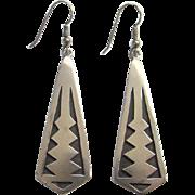 Southwestern Sterling Silver Overlay Dangle Pierced Earrings