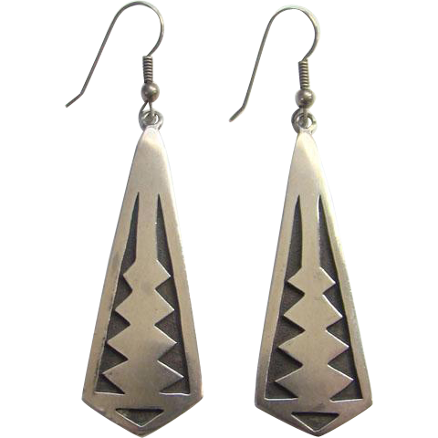 Southwestern Sterling Silver Overlay Dangle Pierced Earrings