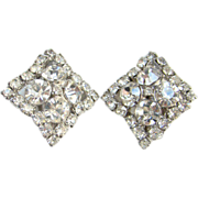 Vintage Clear Ice Rhinestone Square Clip Earrings Silver Tone