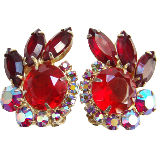 Juliana Red Rhinestone Aurora Borealis Clip Earrings DeLizza Elster D&E