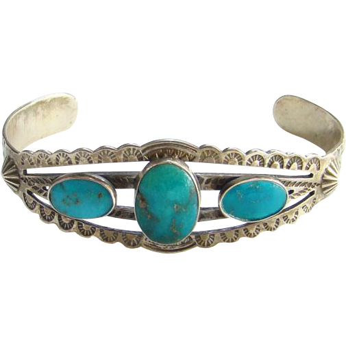 Fred Harvey Era Navajo Turquoise Cuff Bracelet Sterling Silver Stamped Decoration Bohemian Boho Chic
