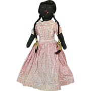 Old Black Cloth Rag Doll Embroidered Face Human Hair Wig Pink Calico Dress 14 Inches
