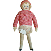 C1920s Expression Art Doll US Patented Gertrude Cox Painted Cloth Doll 8 Inch