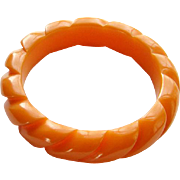 Vintage Rope Carved Bakelite Bangle Bracelet Apricot Orange Color 1940s Costume Jewelry