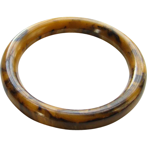 Vintage Chocolate and Peanut Butter Marbled Swirly Bakelite Bangle Bracelet Tests Positive 1940s Costume Jewelry