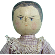 Old Carved Peg Wooden Penny Doll Beautifully Costumed 12in