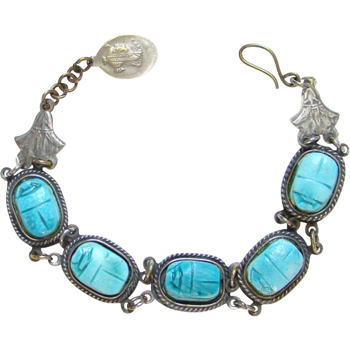 Vintage Egyptian Revival Blue Faience Scarab Coin Silver Link Bracelet C1940s