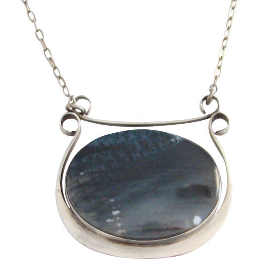 Vintage Artisan Gemstone Sterling Silver Pendant Necklace