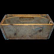 Antique 19thC New England Primitive Knife Box Old Bayberry Milk Paint Irregular Shape Round Nails