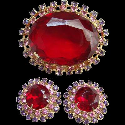 Vintage Ruby Red Pink Lavender Rhinestone Brooch Earrings Set