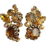 Juliana Topaz Amber Rhinestone Clip Earrings Dog Tooth Prongs DeLizza Elster