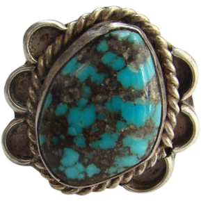 Southwestern Tribal Sterling Silver Turquoise Ring Size 5 Fabulous Matrix
