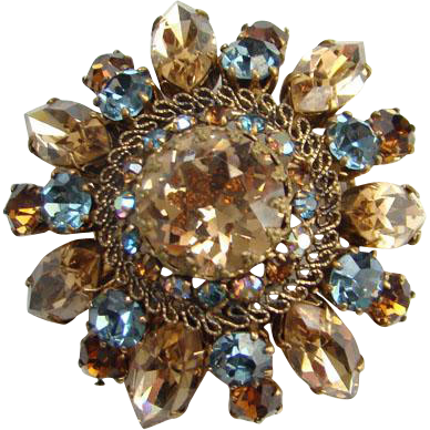 Vintage Made in Austria Champagne Sapphire Blue Rhinestone Crystal Brooch Pin Signed