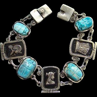 Vintage Egyptian Revival Motif Turquoise Color Scarab Link Bracelet Bohemian Boho Chic