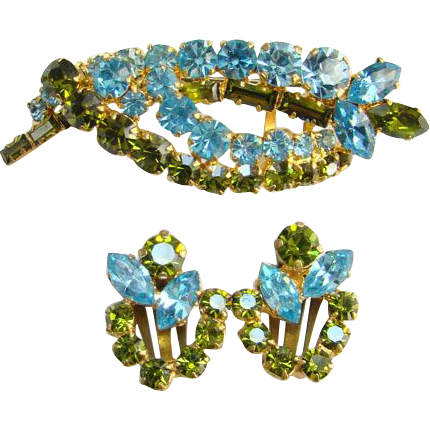 Vintage Made in Austria Rhinestone Pin Brooch Clip Earrings Set Olivine Aquamarine Signed