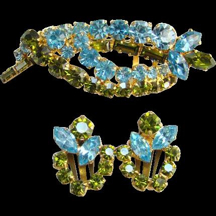 Vintage Made in Austria Rhinestone Pin Brooch Clip Earrings Set Olivine Aquamarine Signed