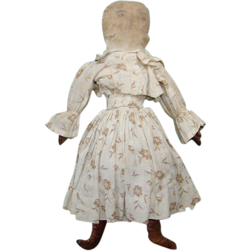 19thC Antique Cloth Rag Doll Two Pencil Faces Original Calico Dress 16 Inches