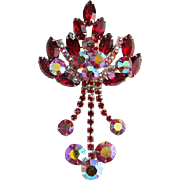 Juliana Ruby Red Rhinestone Aurora Borealis Brooch with Dangles Verified De Lizza Elster D&E