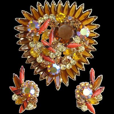 Juliana Topaz Coral Striped Rhinestone Set Brooch Clip Earrings Book Piece DeLizza Elster