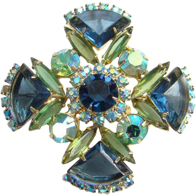 Juliana Maltese Cross Brooch Pin Pendant Blue Rhinestone Green Aurora Borealis DeLizza Elster