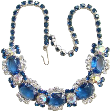 Juliana Sapphire Blue Clear Rhinestone Choker Necklace 5 Link Silvertone DeLizza Elster Verified