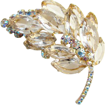 Juliana Clear Rhinestone Tiered Leaf Brooch Pin Aurora Borealis DeLizza Elster